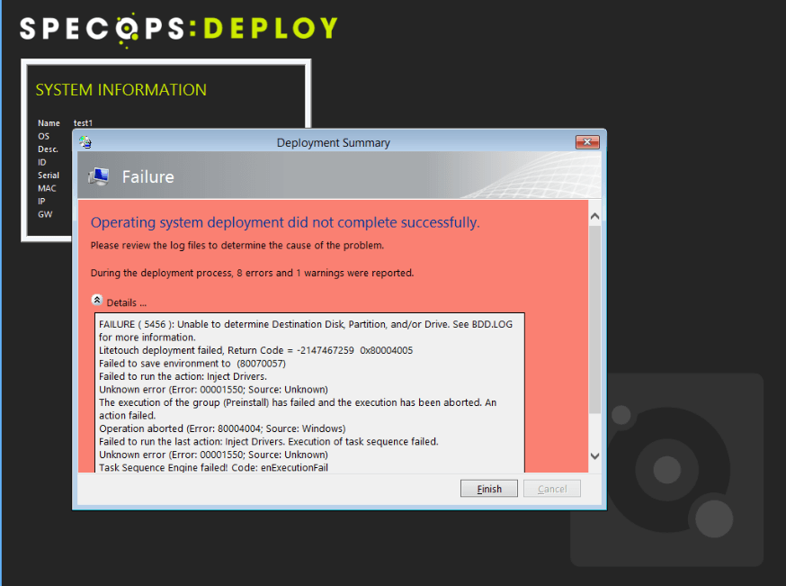 Multiple Drives Causes a Deployment Error | Specops Software