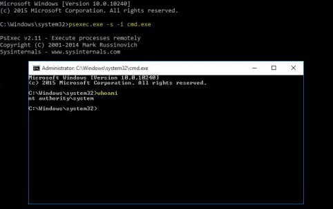 Using PsExec to become the LOCAL SYSTEM account