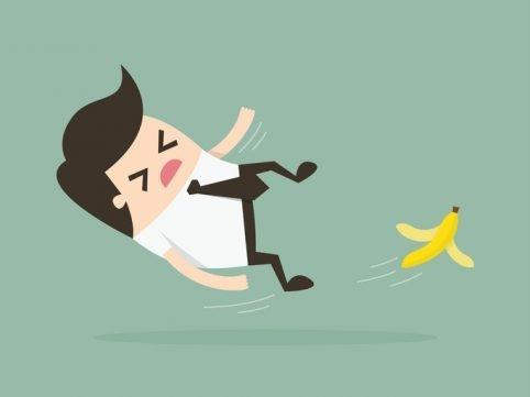 Admin slipping on a banana peel.