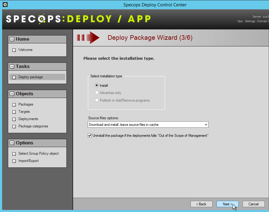 Deploy Package Installation Type