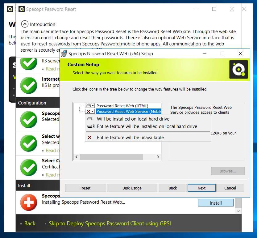 Mobile Service Specops Password Reset