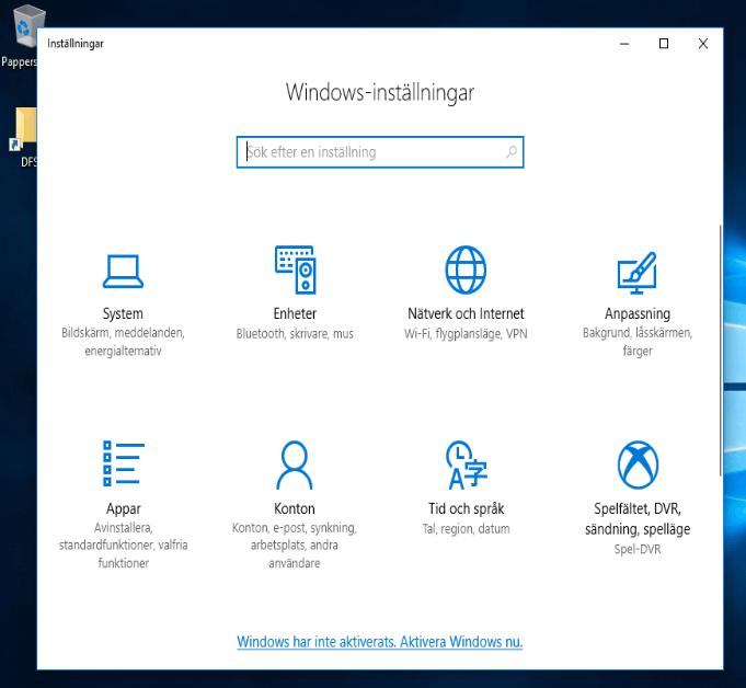 Swedish Windows settings